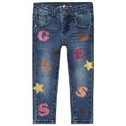 Guess Glitter Logo Baby Jeans Blå 5 years